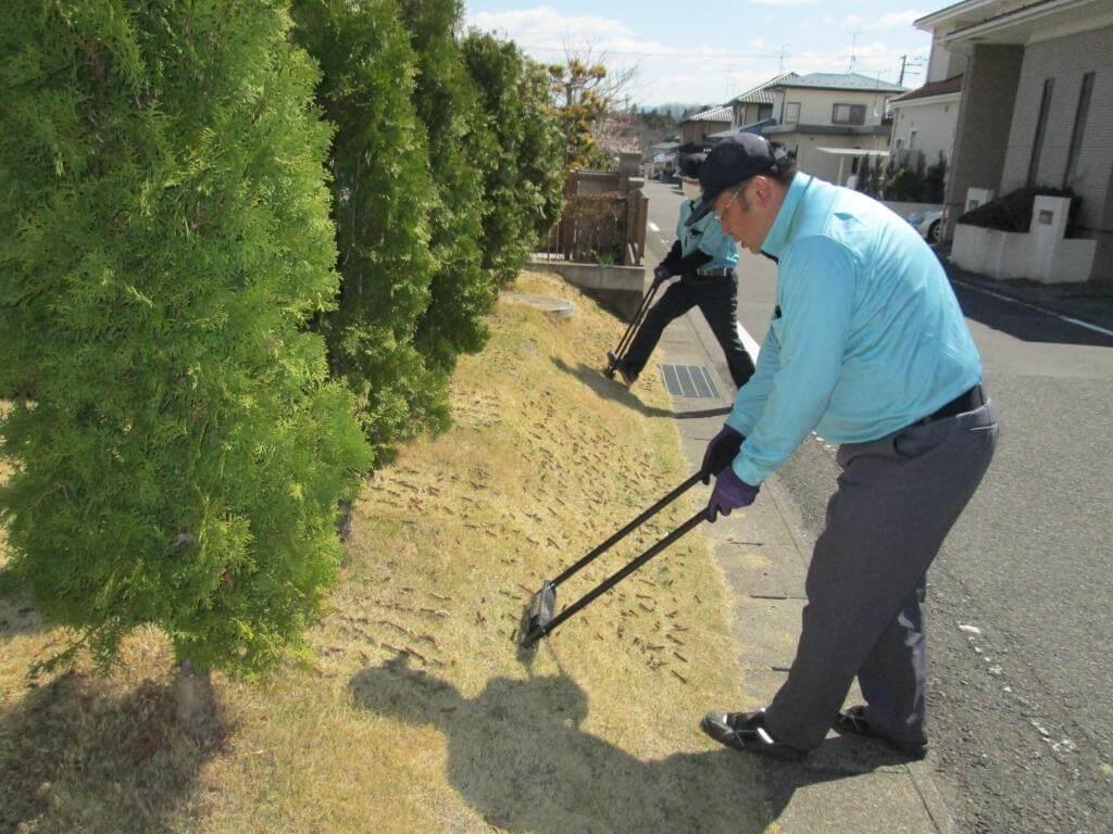 芝生のエアレーションを行うトータルグリーンスタッフ
