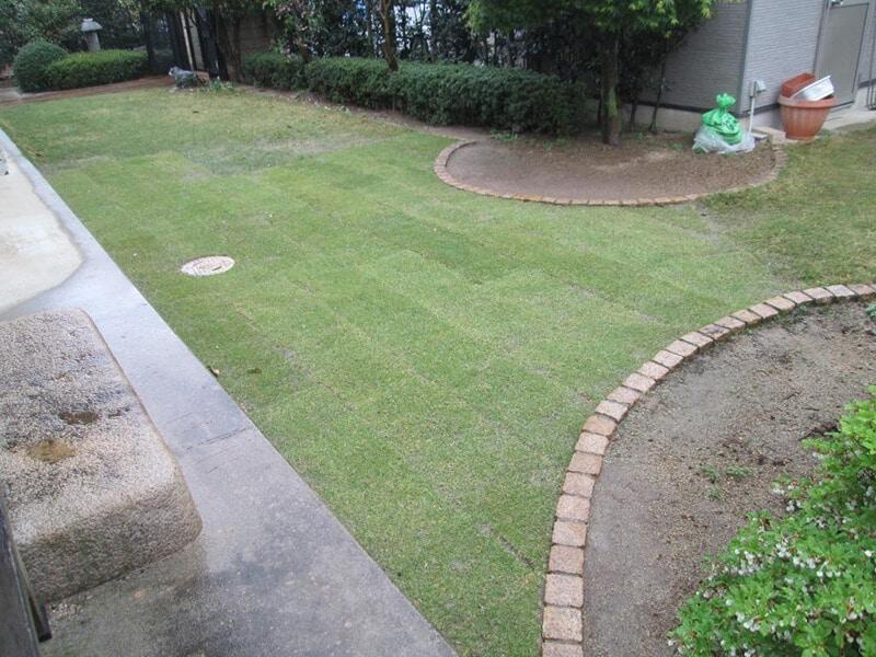 芝を部分的に張り替えて青々とした芝生