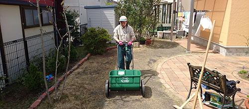 芝生を整えるトータルグリーンのスタッフ
