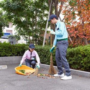 落ち葉を清掃するトータルグリーンのスタッフ